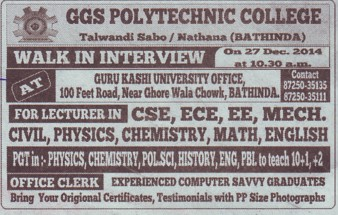 Lecturer in CSE and ECE (GGS Polytechnic)
