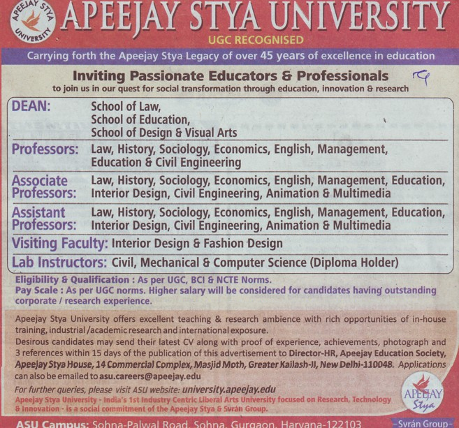 Lab Instructor and Asstt Professor (Apeejay Stya University)