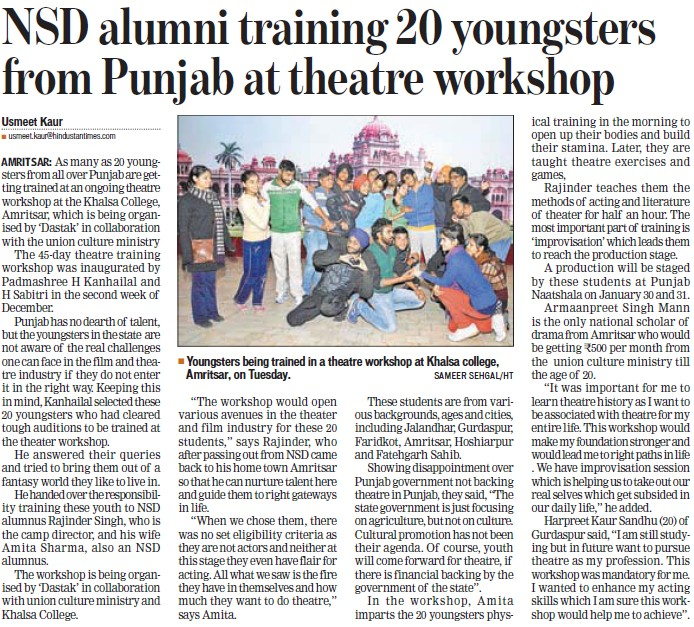 NSD alumni training 20 youngsters from Punjab at theatre workshop (Khalsa College)