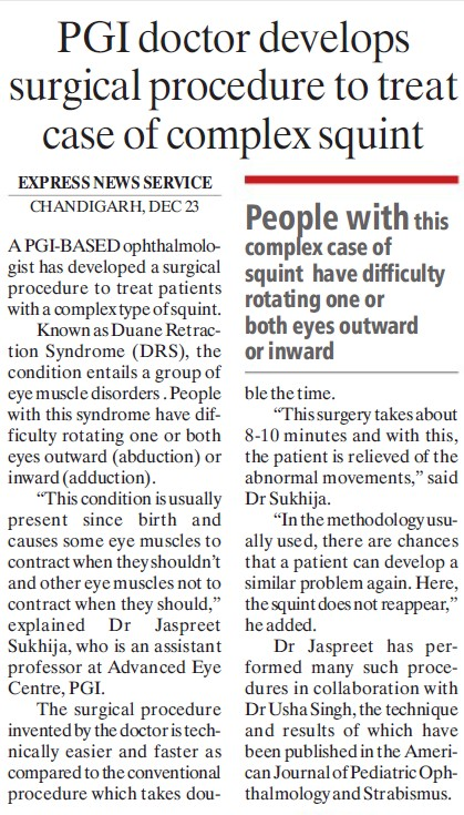 PGI doctor develops surgical procedure to treat case of complex squint (Post-Graduate Institute of Medical Education and Research (PGIMER))