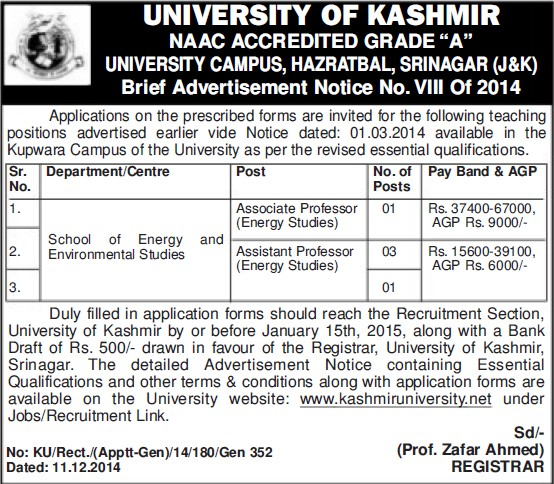 Asstt Professor for Energy Studies (University of Kashmir Hazbartbal)