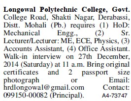 Lecturer for Mechanical Engineering (Longowal College of Pharmacy and Polytechnic)