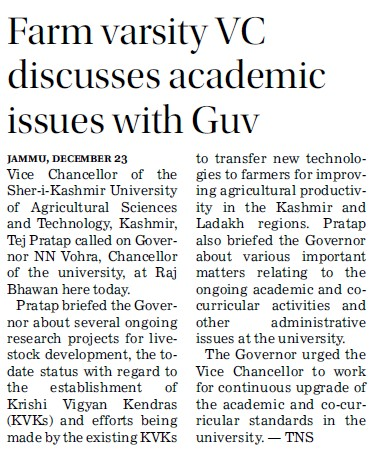 Farm Varsity VC discusses academic issues with Guv (Sher-e-Kashmir University of Agricultural Sciences and Technology of Kashmir)