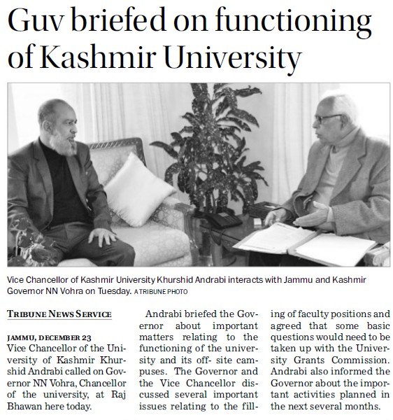 Guv briefed on functioning of KU (University of Kashmir Hazbartbal)