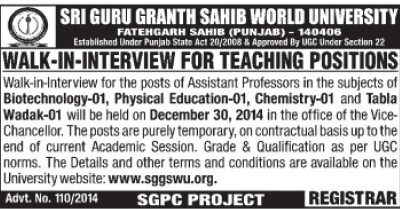Asstt Professor for Biotechnology (Sri Guru Granth Sahib World University)