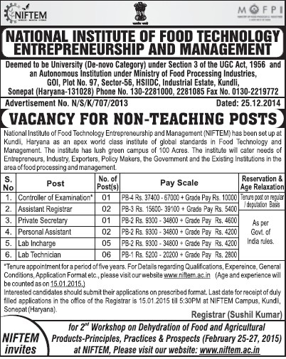 Asstt Registrar and Lab Incharge (National Institute of Food Technology Entrepreneurship and Management (NIFTEM))
