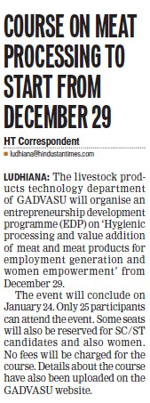 Course on meat processing to start from Dec 29 (Guru Angad Dev Veterinary and Animal Sciences University (GADVASU))