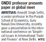 GNDU professor presents paper at global meet (Guru Nanak Dev University (GNDU))
