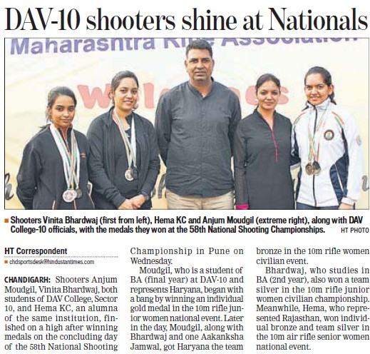DAV shooter shine at Nationals (DAV College Sector 10)