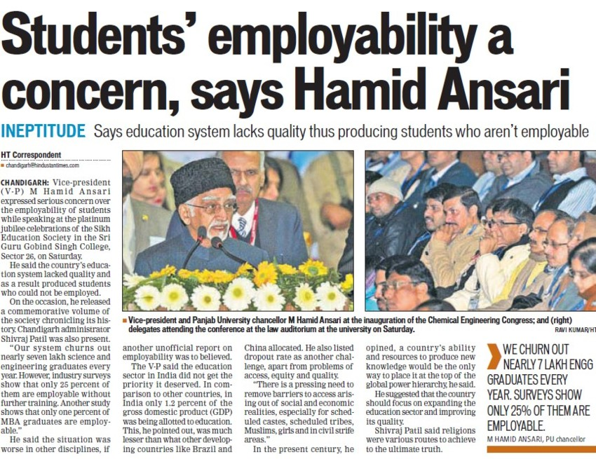 Students employability concern, Hamid Ansari (SGGS Khalsa College Sector 26)