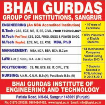 B Tech and M Tech Programme (Bhai Gurdas Group of Institutions)