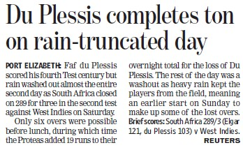 DU plessis completes ton on rain truncated day (Delhi University)