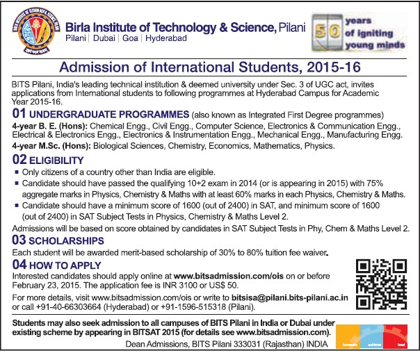 BE and ME Programme (Birla Institute of Technology and Science (BITS))