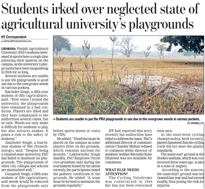 Students irked over neglected state of PAU playgrounds (Punjab Agricultural University PAU)