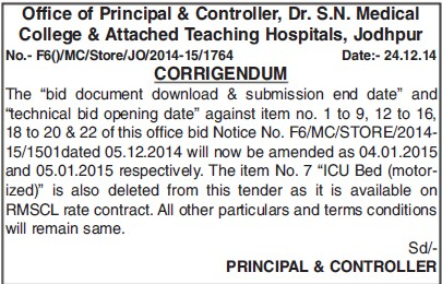 Submission of Tender (Dr SN Medical College)