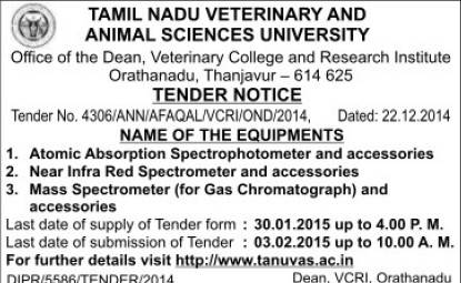 Supply of Mass Spectrometer (Tamil Nadu Veterinary And Animal Sciences University TANUVAS)