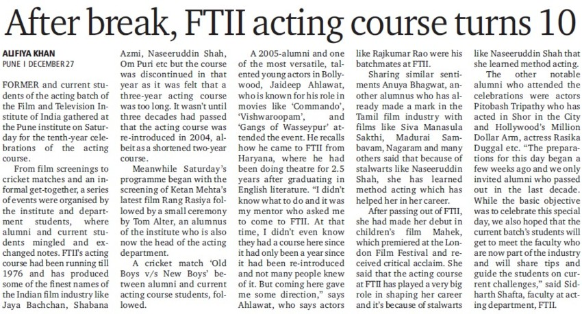 After break, FTII acting course turns 10 (Film and Television Institute of India)