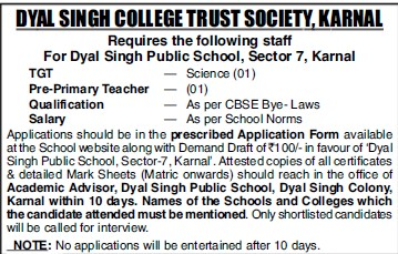 TGT and Pre Primary Teacher (Dyal Singh College)
