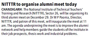 NITTTR to organise alumni meet today (NITTTR)