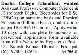 Asstt Professor for Computer Science (Doaba College)