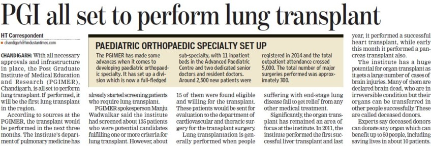 PGI all set to perform lung transplant (Post-Graduate Institute of Medical Education and Research (PGIMER))