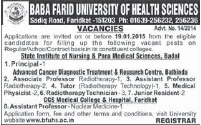 Principal and Asstt Professor (Baba Farid University of Health Sciences (BFUHS))