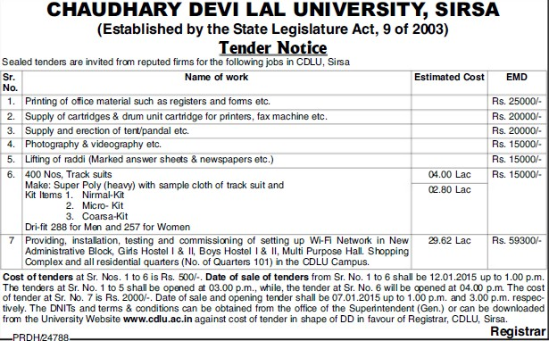 Printing of Office material (Chaudhary Devi Lal University CDLU)