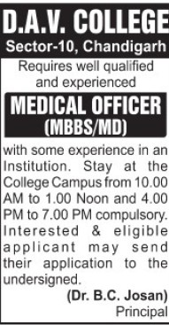 Medical Officer (DAV College Sector 10)