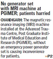 No generator set with MRI machine (Post-Graduate Institute of Medical Education and Research (PGIMER))