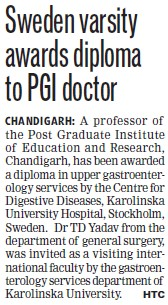 Sweden Varsity awards diploma to PGI doctor (Post-Graduate Institute of Medical Education and Research (PGIMER))