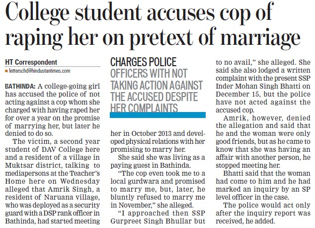 College student accuses cop of raping her on pretext of marriage (MG DAV College)