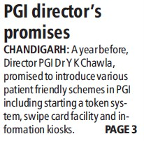 PGI Directors promises (Post-Graduate Institute of Medical Education and Research (PGIMER))