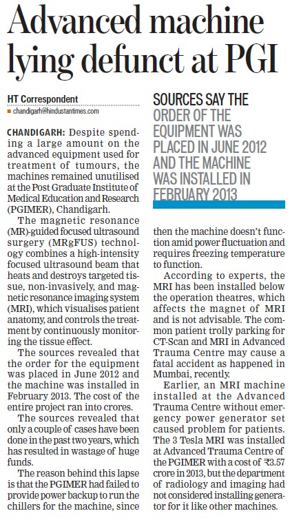Advanced machine lying defunct at PGI (Post-Graduate Institute of Medical Education and Research (PGIMER))
