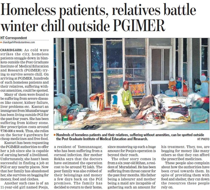 Homeless Patients, relatives battle winter chill outside PGIMER (Post-Graduate Institute of Medical Education and Research (PGIMER))