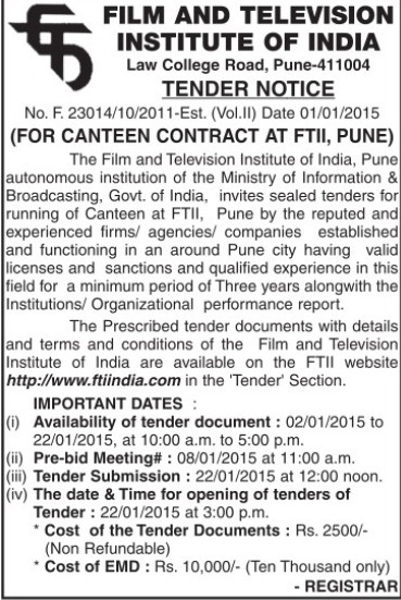 Supply of canteen services (Film and Television Institute of India)