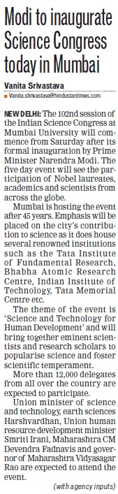Modi to inaugurate science congress today (University of Mumbai (UoM))