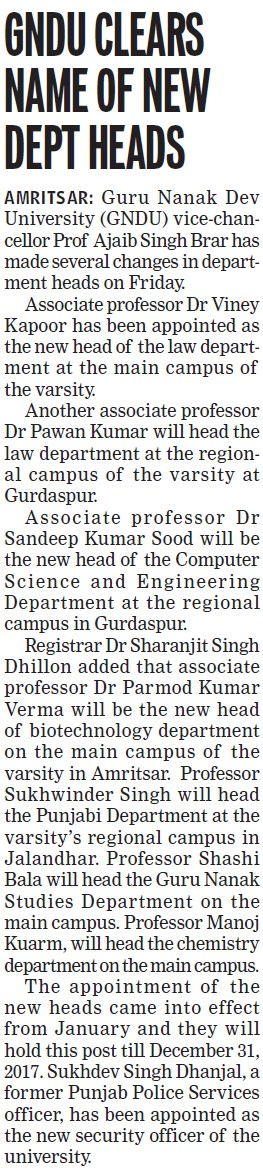 GNDU clears name of new dept heads (Guru Nanak Dev University (GNDU))
