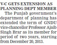 VC gets extension as planning dept member (Guru Nanak Dev University (GNDU))