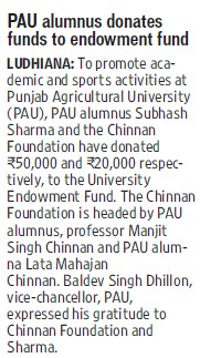 PAU alumnus donates funds to endowment fund (Punjab Agricultural University PAU)