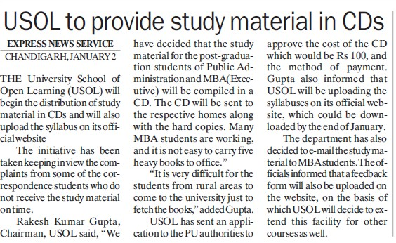 USOL to provide study material in CDs (University School of Open Learning (USOL))
