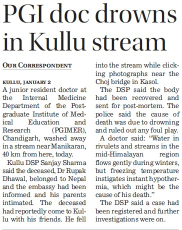 PGI doc drowns in Kullu (Post-Graduate Institute of Medical Education and Research (PGIMER))