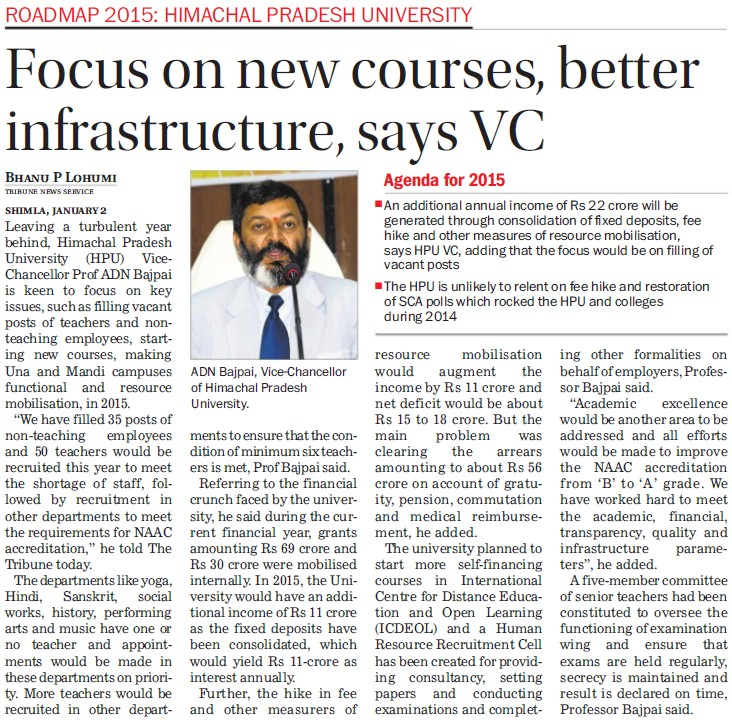 Focus on new courses, better infrastructure, VC (Himachal Pradesh University)