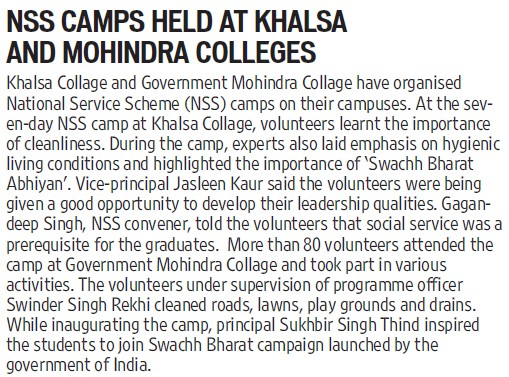 NSS camp held (Government Mohindra College)