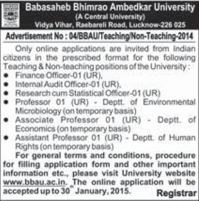 Finance Officer (Babasaheb Bhimrao Ambedkar University)