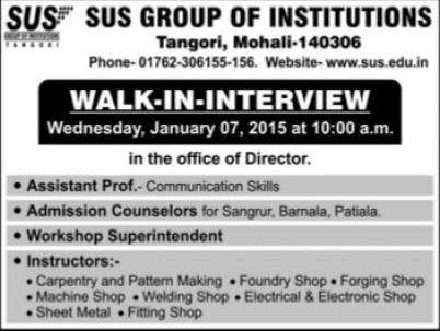 Admission Counselors (SUS Group of Institutions)