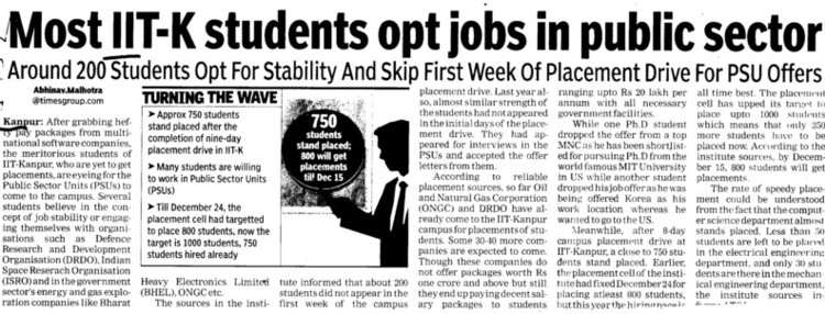 Most IITK students opt jobs in Public sector (Indian Institute of Technology (IITK))
