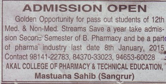 B Pharmacy course (Akal College of Pharmacy and Technical Education)
