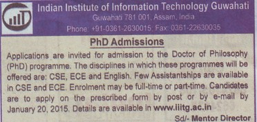 PhD Programme (Indian Institute of Technology IIT)