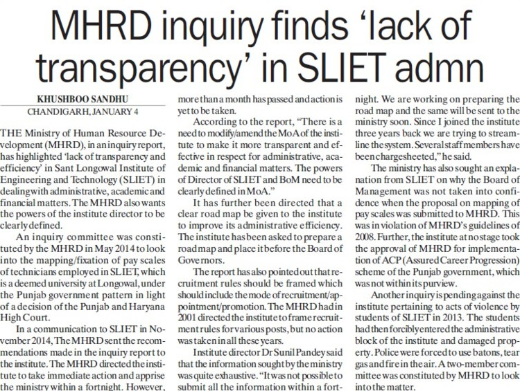 MHRD inquiry finds lack of transparency in SLIET admn (Sant Longowal Institute of Engineering and Technology SLIET)