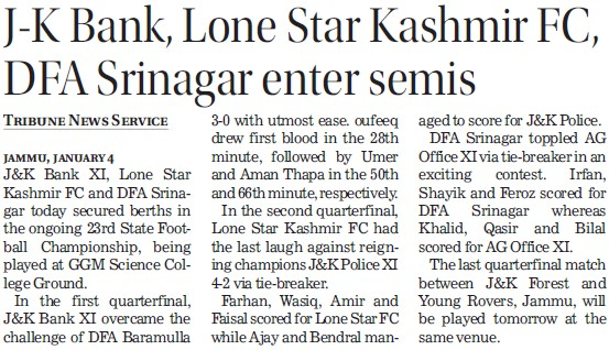 JK Bank, Lone Star Kashmir FC, DFA Srinagar enter Semis (GGM Science College Canal Road)